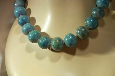 Wonderful Vintage 1970's Faience Blue Clay Beaded Egyptian Clay Necklace 51F9