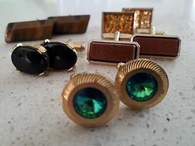 VINTAGE RETRO 60s ! FAU GEM FLASHY GOLDTONE CUFFLINKS COLLECTION x 5