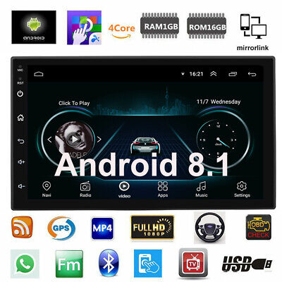 """Android 8.1 Car Stereo GPS Navigation Radio Player Double Din WIFI 7"""" Inch Y0T8"""