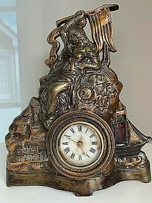 Antique Victorian Figural Miss Liberty Cast Iron Shelf Clock