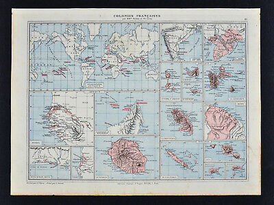 1885 Drioux Map - French Colonies Taiti Guyane Caribbean Reunion Vietnam Senegal