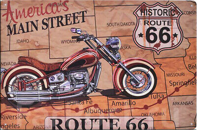 30 X 20 Vintage Pin'Up Sexy Plaque Route 66 Métal N°21