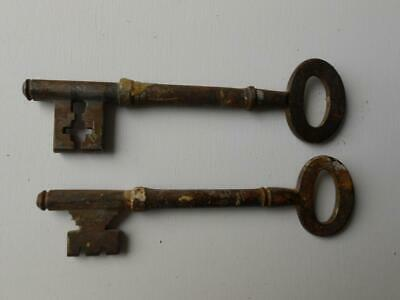 X 2 Antique Georgian Victorian Iron Door Keys