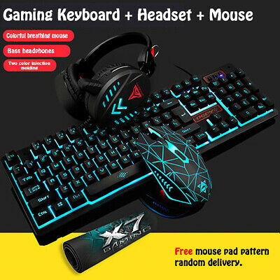 Mechanical Feel Keyboard and Wired Mouse Set Headset Three-Piece Game Light AU