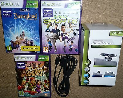 KINECT SPORTS ADVENTURE DISNEYLAND GAMES + TV MOUNT EXTENSION CABLE for XBOX 360