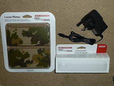 NINTENDO NEW 3DS OFFICIAL COVER PLATES Mario Camouflage CHARGING CRADLE CHARGER