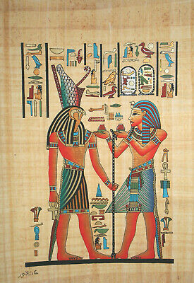 """Egyptian Papyrus - Hand Made-12"""" x 16"""" - Ancient Art- Horemheb Offering To Horus"""
