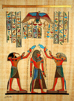 "Egyptian Papyrus - Hand Made- 12"" x 16"" - Ancient Art - Coronation Of Ramses ll"