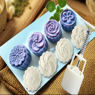 One Set 4 Style Stamps 50g Round Flower Moon Cake Mould White Mooncake Mold OT