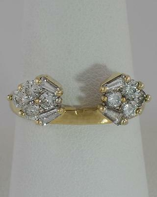 14k YELLOW GOLD 3/4ct BAGUETTE & ROUND DIAMOND ENGAGEMENT RING WRAP GUARD 8.5