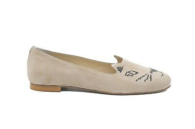 Pegia Cat Face Embroidery Ladies Beige Suede Slipper Pumps