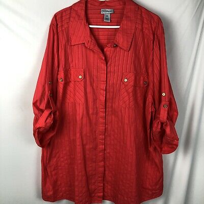 5421a83694027b LIZ & ME for CATHERINES Women's Button down Blouse Size 3X Long 3/4 Sleeves