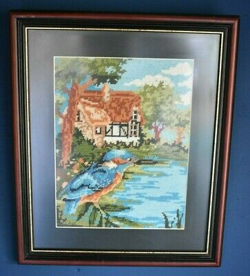 Completed Framed Kingfisher Bird By The Water Tapestry Picture