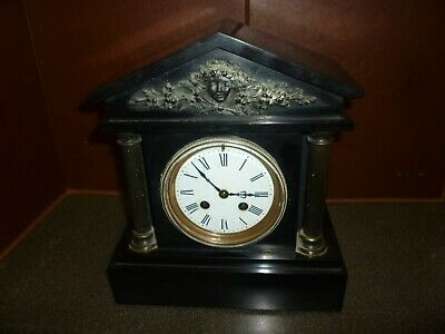 Good Looking Victorian Slate 8 Day Striking Mantel Clock In Good Working Order