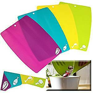 Set of 4 Flexible Chopping Boards Flexi Cutting Sheet Mats Colour Coded Labels