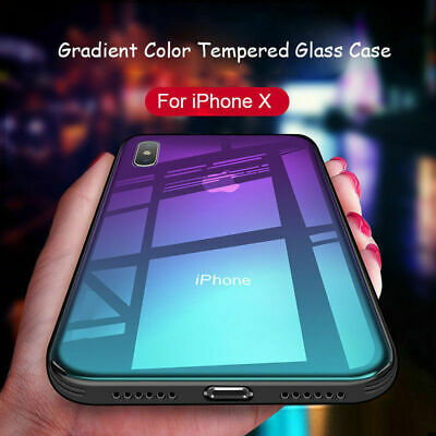 For IPhone XS MAX XR X 8 7 6Plus Luxury Ultrathin Gradient Glass Shockproof Case