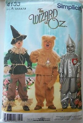 2accd4904 Simplicity Pattern #4133 Costume Wizard Of Oz Scarecrow Lion Tinman Child  Sz 3-8