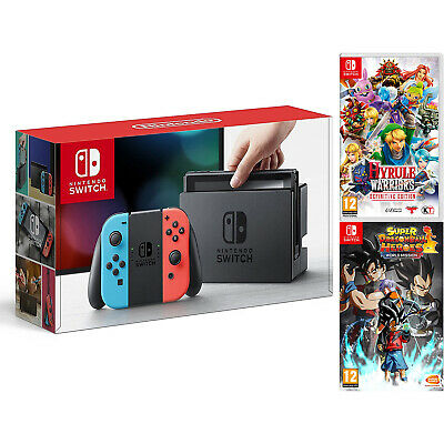 Nintendo Switch Neon Console with Hyrule Warriors & Dragon Ball Heroes Bundle