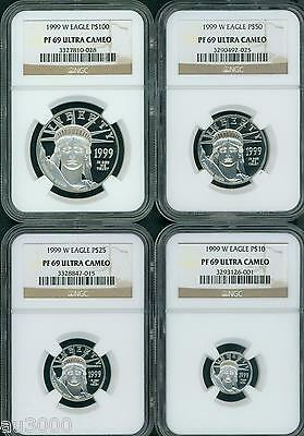 1999-W 4-Coins SET $100 $50 $25 $10 PROOF PLATINUM EAGLE NGC PR69 PF69 !!!