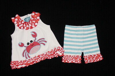 Beach or 4th of July! Mud Pie Boathouse Baby Crab Plaid Diaper Cover Set