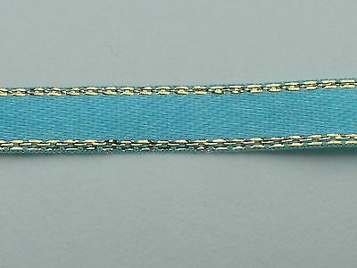 2m of 7mm WIDE GOLD EDGED TURQUOISE RIBBON - R5