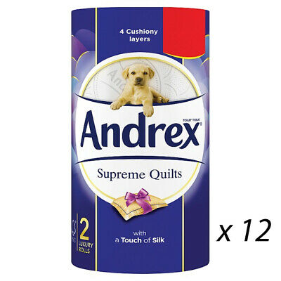 ANDREX SUPREME QUILTS TOILET ROLL TISSUE 2 ROLLS x 12 PACKS 224114