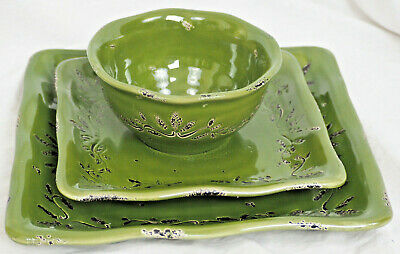 Tabletops Gallery ROMA ANTICA Distressed Green Dinner Plate, Salad Plate & Bowl