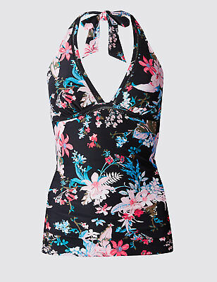 b66c015090 M&S SECRET SLIMMING Navy Tankini With Fold Over Bottoms Uk 20/22 ...