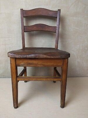 Vintage~Old~Child~Youth~Solid~Oak~School~Church~Chair~Nursery~#2
