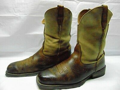 eb393e9845d ARIAT RAMBLER MEN'S 10.5 D Brown Leather Square Toe Western Cowboy Pull On  Boots