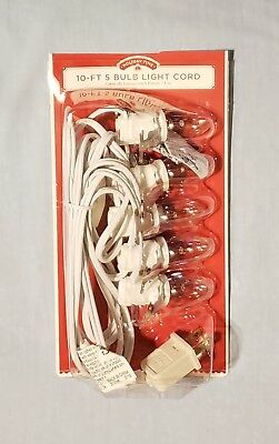 One 10-Foot 5 Bulb Light Cord with On/Off Switch for Holiday Villages - New!