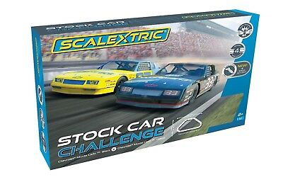 SCALEXTRIC 1:32 STOCK CAR CHALLENGE SET Slot Car Set w/Mutiple Tracks SC1383T