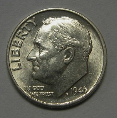 Gorgeous 1946 Silver Roosevelt Dime Grading NICE AU/BU First Year of Issue