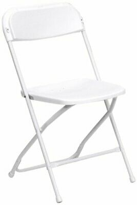 Plastic Folding Chair, 800 lbs. Capacity, White, Lot of 10 (P)