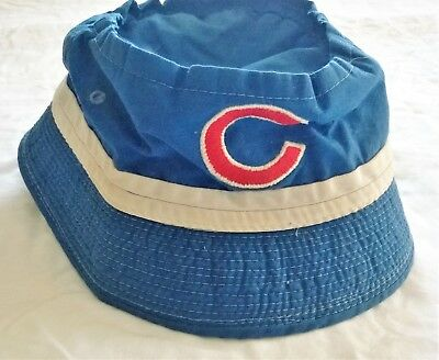 503195b28cb VINTAGE 1970 s CHICAGO CUBS Blue Floppy Bucket Hat White Band Embroidered  Logo