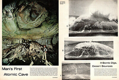 1963 vintage Article MAN'S FIRST ATOMIC CAVE H-bomb underground tests 030819