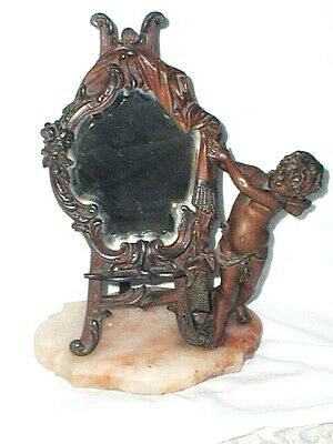 Antique French Winged Cherub Putti Table Mirror Bevelled Glass Marble Base