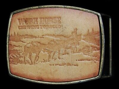 LK15167 VINTAGE 1970s ***WORK HORSE CHEWING TOBACCO*** LEATHER BELT BUCKLE