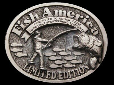 JG09141 VINTAGE 1970s GREAT AMERICAN **FISH AMERICA** LIMITED EDITION BUCKLE