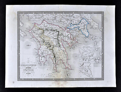 1839 Monin Map Ancient Greece Peloponnese Sparta Athens Attica Corinth Cythera