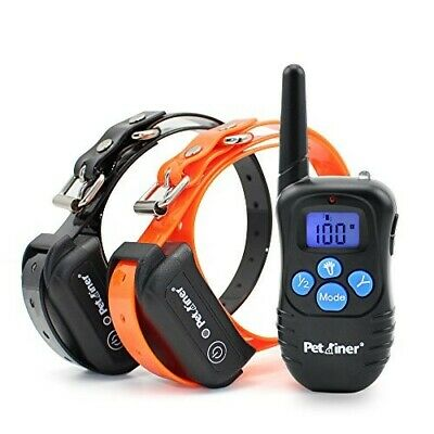 Petrainer Waterproof Rechargeable Dog Training Collar With Shock Remote 2 Dogs