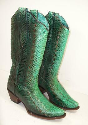 94778d3d0f5901 Women s Corral A3661 Turquoise Full Python Woven Sniip Toe Cowboy Boots ...