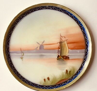 Antique Hand Painted Moriage Nippon Plate Authentic Maple Leaf Mark Sail Boat