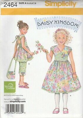 Simplicity Sewing Pattern 2464 Daisy KIngdom Girl's Dress Top Capri Pants Sz 3-8