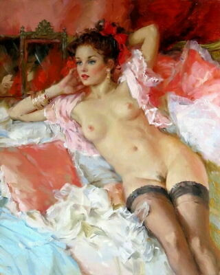Art Giclee Naked girl in bed Oil painting Printed on Canvas P1360
