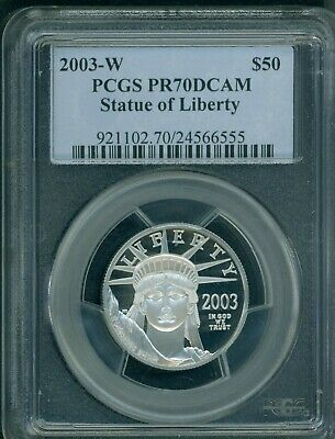 2003-W $50 PLATINUM EAGLE STATUE LIBERTY 1/2 Oz. PCGS PF70 PROOF PR70