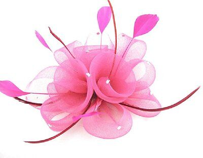 Fascinator Hair Clip Buttonhole Flower Feathers Rhinestone Accessories Bright