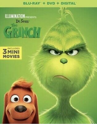 Dr. Seuss' The Grinch ( Blu-Ray, DVD, Digital, Slipcover) Brand New