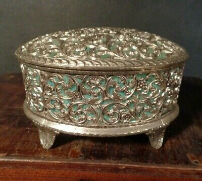 ANTIQUE Ornate FILIGREE Metal BOX FOOTED JEWELRY BOX light blue lined hinged