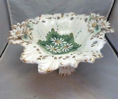 Vintage hand painted Italian pottery compote footed dish. White daisies